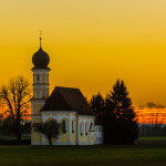Bavarian church at sunset