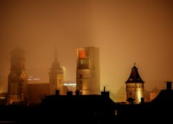 Downtown Stuttgart in the mist